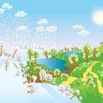Change of seasons. Seasons in landscape — Stock Vector