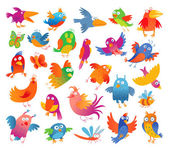 Funny colorful birdies — Vector de stock