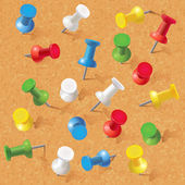 Group of thumbtacks pinned on corkboard — Stock Vector