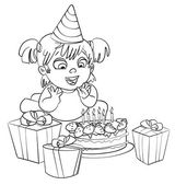 Little girl having fun celebrating her birthday. Coloring book — Stock Vector