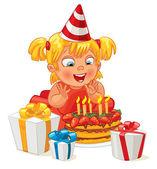Menina, se divertindo, comemorando o aniversário dela. muitos presentes um — Vetor de Stock