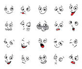 Emotions. Cartoon facial expressions set — Stock Vector
