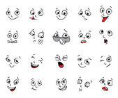 Emotions. Cartoon facial expressions set — Stock Vector
