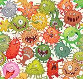 Dangerous microorganisms. Seamless pattern — Vettoriale Stock