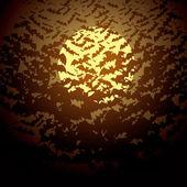 Luna y murciélagos — Vector de stock