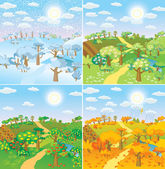Seasons in the countryside — Stock Vector
