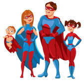 Family of superheroes — Stock Vector