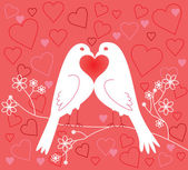 Lovebirds. Valentine's Day — Stock Vector