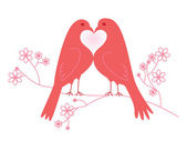 Pair of lovebirds. Valentine's Day — Stock Vector