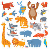 Cute zoo animals — Stock Vector