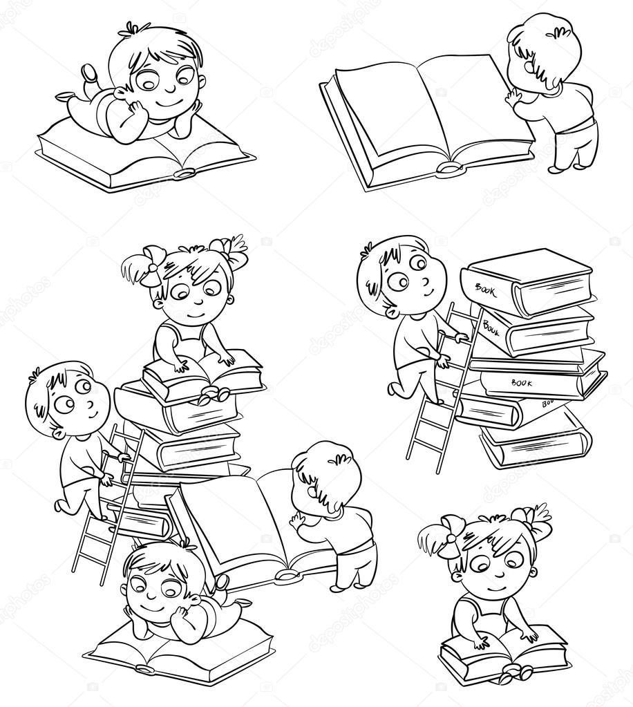 Раскраски мальчики с книгой