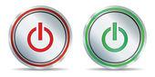 Set of metallic power icons — Stock Vector