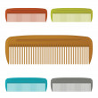 Set of plastic colorful hair comb. Vector — Stock Vector