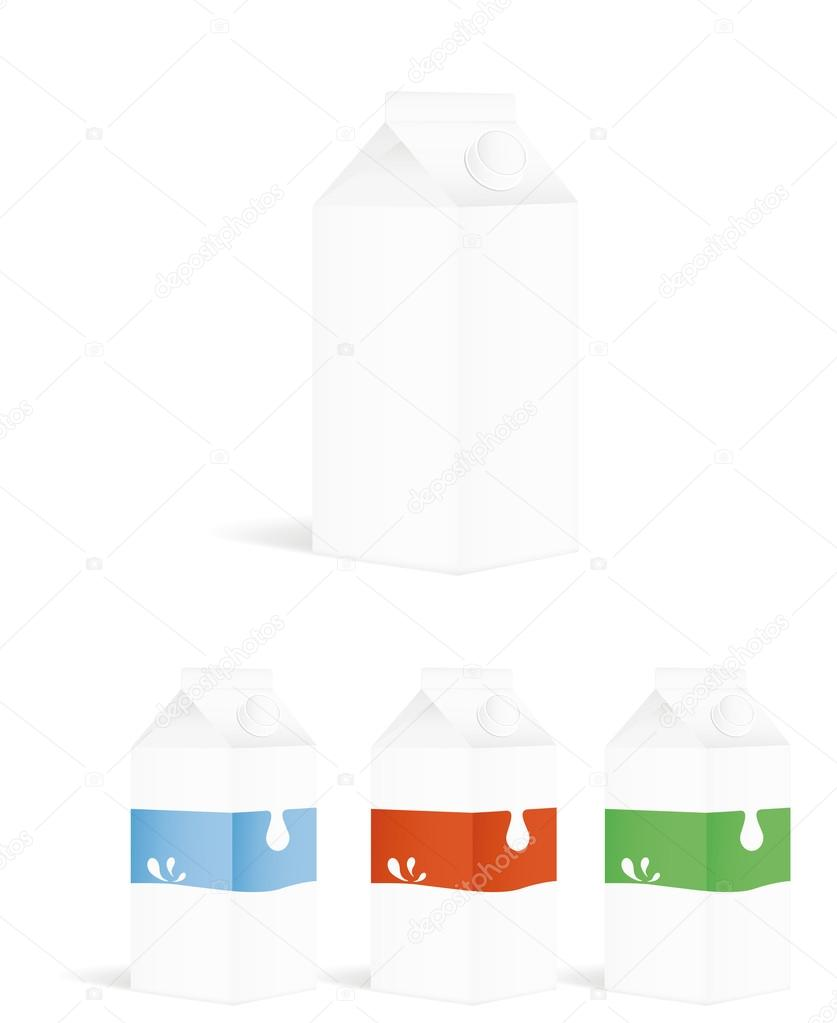 Set of milk packing containers. Vector illustration — Stockvektor #16316993