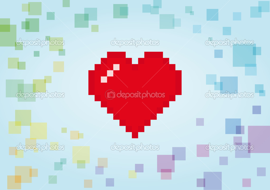 Digital heart abstract background. Vector illustration  Stock Vector #17640147