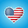 Heart shape flag of USA with lace — Stock Vector