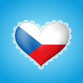 Heart shape flag of Czech Republic with lace — Stock Vector