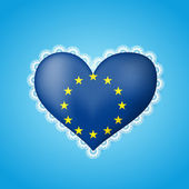 Heart shape flag of European Union with lace — Stock Vector