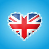 Heart shape flag of Great Britain with lace — Stock Vector