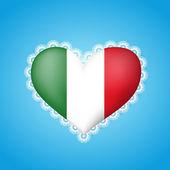 Bandera de forma de corazón de italia con el cordón — Vector de stock