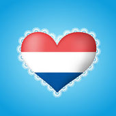 Heart shape flag of Holland with lace — Stock Vector