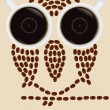 Owl silhouette made by coffee beans — Stock Vector #26080963