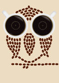 Owl silhouette made by coffee beans — Stock Vector