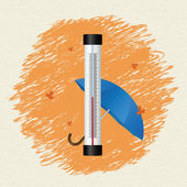 Thermometer by seasons. Winter — Stock Vector