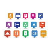 Travel icon pins set — Stock Vector