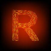Ogień litera r — Wektor stockowy