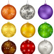 Nine vector christmas design balls — Stock Vector