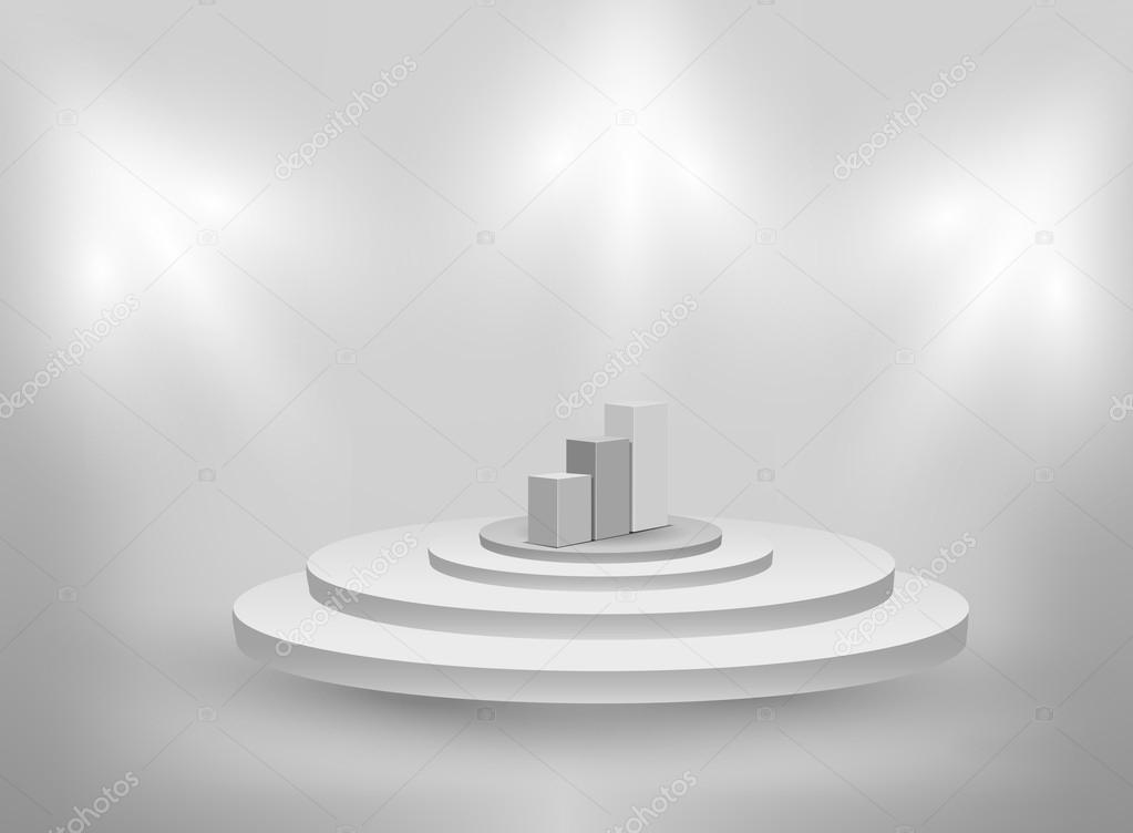3d Empty interior with podium and graph  Stock Vector #14345679