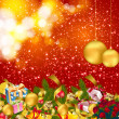 Christmas background with baubles and christmas elements — Vektorgrafik