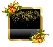 Christmas gold background with fireworks — Stock Vector