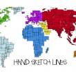 Colored map of the World, hand sketch design - Stock Vector