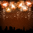 Fireworks on the Night City — Stock Vector #35886169