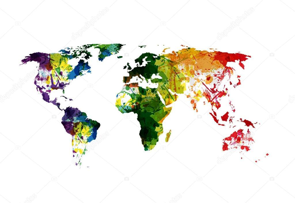 世界地图水彩,容易编辑