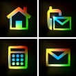 Stockvektor : Neon Icon, home, email, phone, easy editable