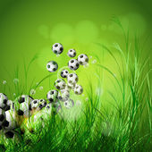 Soccer ball on green grass background, easy all editable — Vector de stock