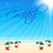 Cocktail Beach poster, easy all editable — Wektor stockowy
