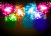 Realistic Vector fireworks exploding in the night sky — Vettoriale Stock