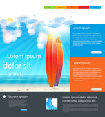 Website Holidays Template background with surfboard, easy all ed — Stock Vector
