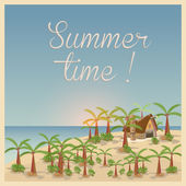 Summer background in retro style, easy all editable — Stock Vector