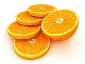 Sliced orange and half oranges — Stock Photo