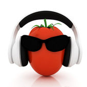 "Tomato with sun glass and headphones front ""face"" on a white background — Stock Photo"