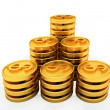 Gold dollar coins — Foto de Stock