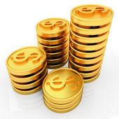 Monete del dollaro in oro — Foto Stock