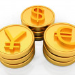 Stock Photo: Gold coins with 3 major currencies