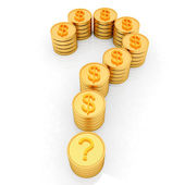 Question mark in the form of gold coins with dollar sign — Stock Photo