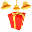 Gold bell and red gift box with golden ribbon on white background — Stock Photo
